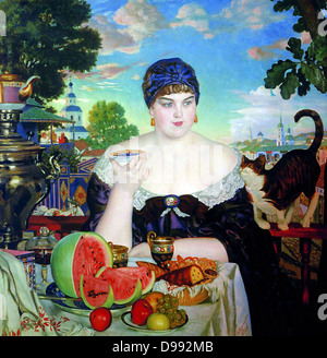 The Merchant's Wife', 1918. Oil on canvas. Boris Kustodiev (1878-1927) Russian painter and stage designer. Woman - Stock Photo