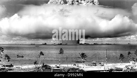 United States detonating an atomic bomb at Bikini Atoll in Micronesia in the first underwater test of the device, - Stock Photo