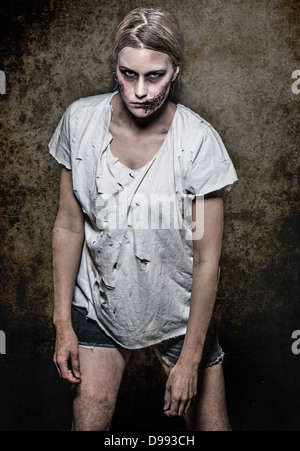 a scary and bloody zombie - Stock Photo