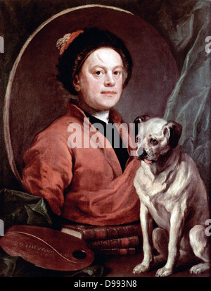 William Hogarth, self-portrait, 1745. William Hogarth (10 November 1697 – 26 October 1764) English painter, printmaker, - Stock Photo