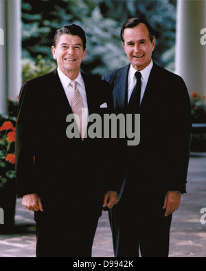 Ronald Wilson Reagan (1911-2004) 40th President of the United States 1981-1989, with his Vice-President and successor - Stock Photo