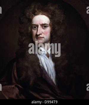Sir Isaac Newton (1642-1727). Portrait by Sir Godfrey Kneller 1689. Newton was an English physicist, mathematician, - Stock Photo