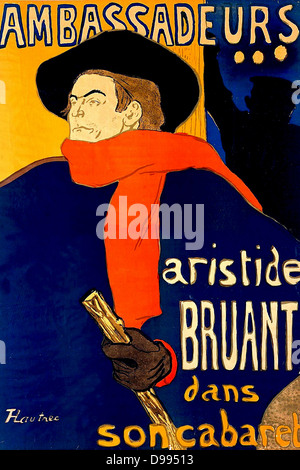 Aristide Bruant (1851-1925) French cabaret singer and nightclub owner, 1892. Poster by Henri Toulouse-Lautrec (1864 - Stock Photo
