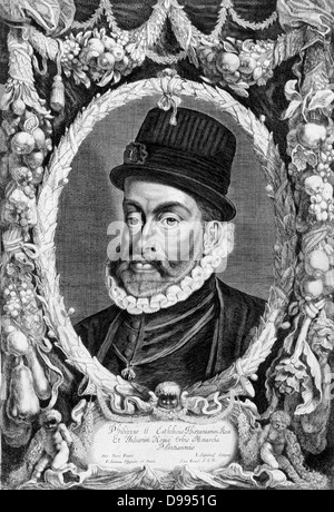 Philip II (1527-1598) King of Spain and Portugal, Naples, and Sicily (1556-1598). Son of Emperor Charles V. In 1554 - Stock Photo