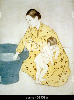 The Bath',1891. Drypoint and aquatint, printed in colour. Mary Cassatt (1844-1926) American artist, from 1866 lived - Stock Photo