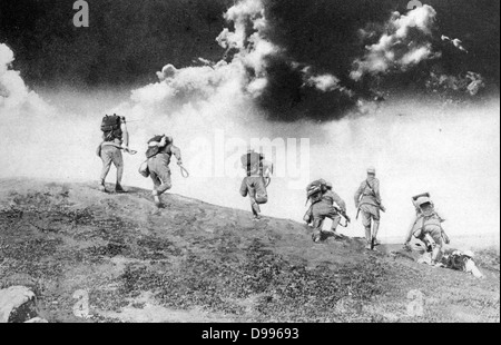 Austrian soldiers charging down on an Italian patrol. - Stock Photo