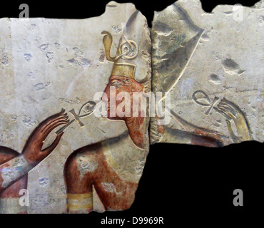 King Ramses II, among the gods, about 1275 BC (19th dynasty) comes from the small temple built by King Ramses II - Stock Photo