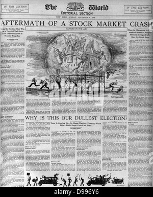 The (Wall Street) stock market crash 1929 depicted in a newspaper of the period - Stock Photo