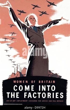 World War II, British propaganda p[Poster 'Women come into the factories' - Stock Photo