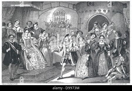 19th Century illustration showing King Henry VIII of England, at court - Stock Photo
