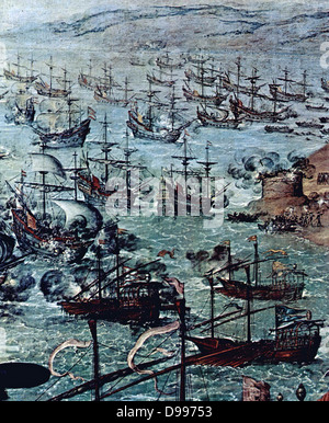 In April 1587 a raid by the Englishman Sir Francis Drake occupied the harbour of Cadiz for three days. The attack - Stock Photo
