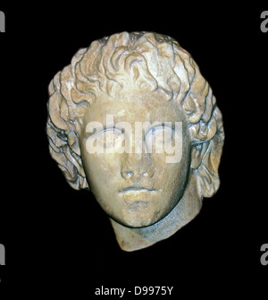 Portrait bust (Greek) of Alexander the Great, 356-323 BC - Stock Photo