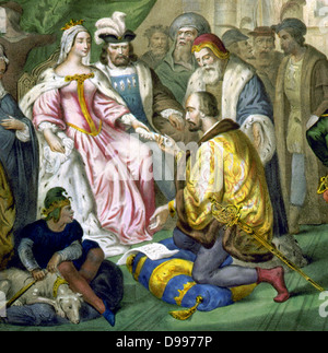 Christopher Columbus before Queen Isabella of Spain - Stock Photo