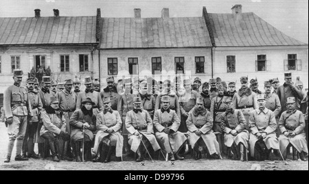 World War I 1914-1918: Austrian Archdukes Frederick and Charles with their officers, 1915. - Stock Photo