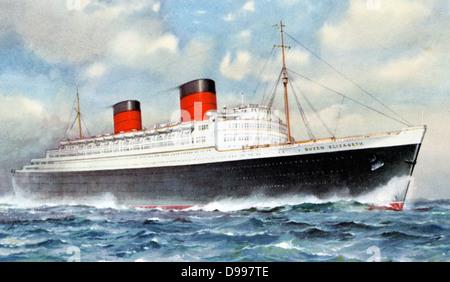 Ocean liner RMS 'Queen Elizabeth', Cunard White Star Line. Built by John Brown & Co., Clydebank, Scotland. Maiden - Stock Photo