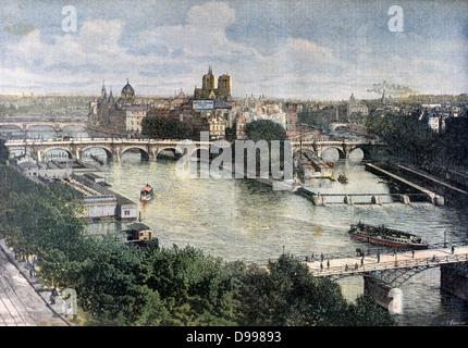 Paris, France, view of the River Seine from the east with the Cathedral of Notre Dame de Paris on Ile de la Cite. - Stock Photo