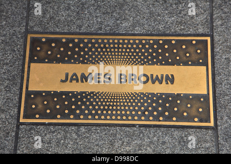 James Brown Plaque, Walk of Fame, Apollo Theater, 125th Street, Harlem, Manhattan, New York City, USA - Stock Photo