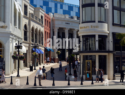 Two rodeo, Stefano Ricci and Versace boutique, noble shopping street rodeo drive, Beverly Hills, Los Angeles, California, - Stock Photo