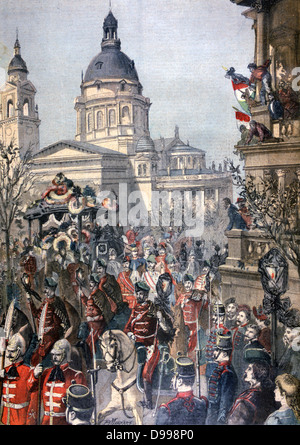 Funeral procession of Lajos (Louis) Kossuth (1802-1894) Hungarian revolutionary, patriot, politician and Regent - Stock Photo