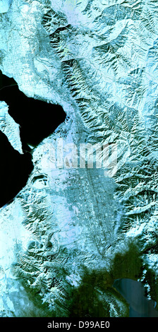 The 2002 Winter Olympics, hosted by Salt Lake City. View of north central Utah that includes all of the Olympic - Stock Photo