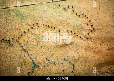LONDON, UK - Pins mark out the progress of the war around Czechoslovakia on a map at the Churchill War Rooms in - Stock Photo