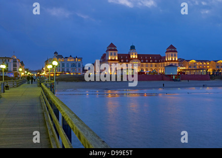 Kurhaus with pier in Binz, Ruegen Island, Mecklenburg-Western Pomerania, Germany - Stock Photo