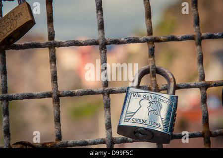 Close up of a love lock on Via Dell'Amore, Cinqueterre, Italy - Stock Photo
