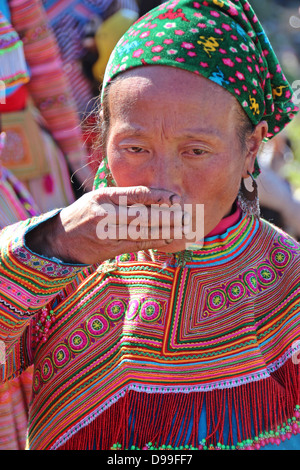 SaPa, Vietnam circa Dec.2012, An undentified woman from the Hmong tribe smiles during the weekly BacHa market in - Stock Photo