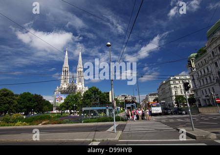 Schottengasse with Sigmund Freud Park & Votive Church in the background - Vienna, Austria - Stock Photo