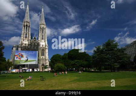 Sigmund Freud Park & Votive Church - Vienna, Austria - Stock Photo