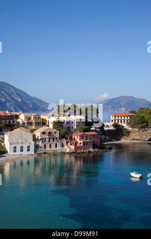 Assos harbour Kefalonia isthmus Greek fishing village - Stock Photo