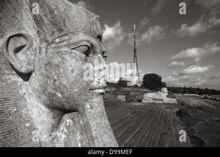 The site of the Crystal Palace in Sydenham, London Borough of Bromley showing two sphinxes and the transmitter tower, - Stock Photo