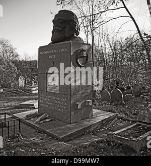 Karl Marx grave, East Cemetery, Highgate Cemetery in North London - Stock Photo