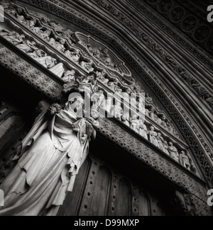 North Entrance doorway into Westminster Abbey, London England - Stock Photo