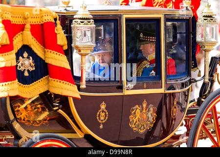 London, UK. 15th June 2013. Queen Elizabeth attends the trooping colour parade in London, United Kingdom,15 June - Stock Photo