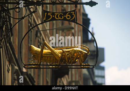 Sir Thomas Gresham's grasshopper motif in Lombard Street in the city of London - Stock Photo