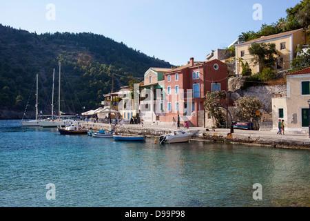 Assos harbour Kefalonia Ionian Islands Greece - Stock Photo