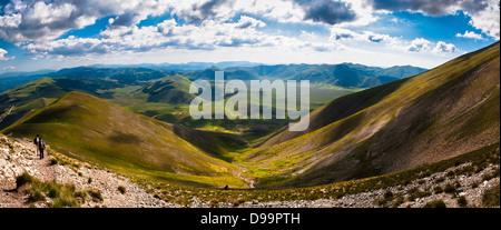 Panoramic view of Mount Vettore, Norcia, Umbria, Italy. - Stock Photo