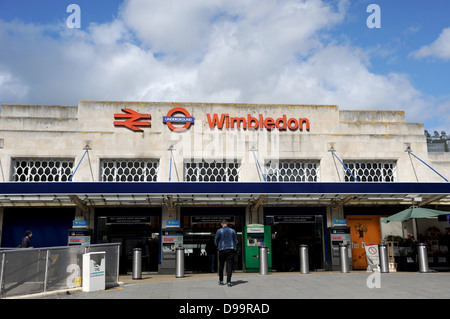 Wimbledon Overground and Underground train station in South West London UK - Stock Photo