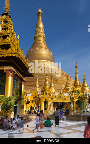 Golden stupas of the Shwedagon Paya (Buddhist temple) in Rangoon ( Yangon) Burma (Myanmar). - Stock Photo