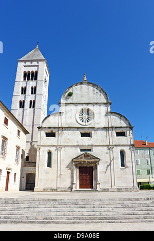 St. Mary's church located in the old city of Zadar opposite St. Donatus Church - Stock Photo