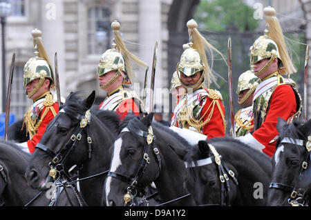Trooping the Colour taking place along The Mall and Buckingham Palace, London, UK - Stock Photo