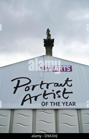 Trafalgar Square, London, UK, 15th June 2013. Sky Arts - Portrait Artist of the Year Tent in Trafalgar Square. Supported - Stock Photo