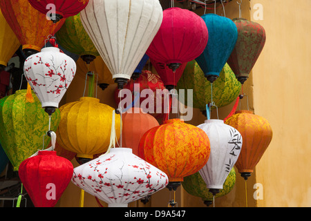 Silk lanterns on display in a shop in Hoi An, Quang Nam province, Vietnam, Southeast Asia, Indochina - Stock Photo