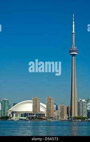 Toronto skyline, CN Tower and skydome - Stock Photo