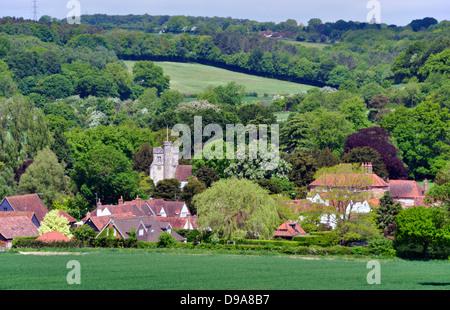 Bucks - Chiltern Hills - landscape Little Missenden village - sheltered by wooded hillsides - church tower  - cottages - Stock Photo