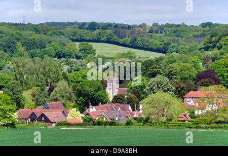 Bucks - Chiltern Hills - landscape Little Missenden village - church tower -cottages - trees - fields - summer sunlight - Stock Photo