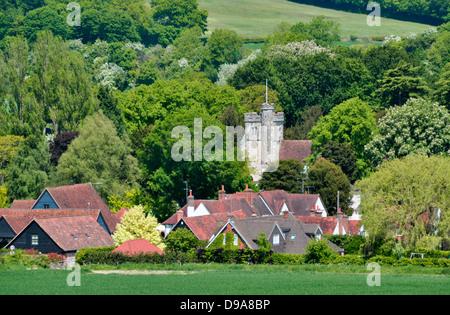 Bucks - Chiltern Hills - landscape - Little Missenden village - church tower - cottages - russet rooftops - wooded - Stock Photo