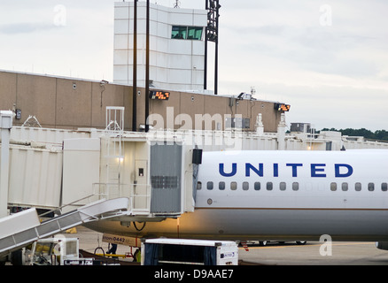 A United Airlines aircraft sits at a gate at George Bush International (IAH) Airport in Houston, Texas, prior to - Stock Photo