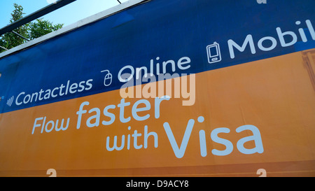 Advertisement on a billboard for Visa Contactless Credit Card used online or with mobile phone Cardiff Wales UK - Stock Photo